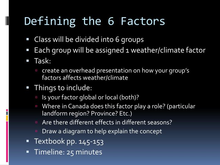 Defining the 6 Factors