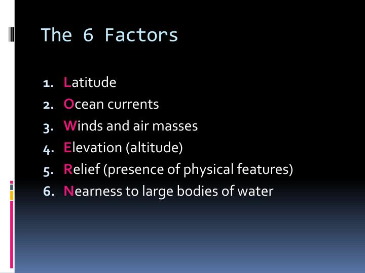 The 6 Factors