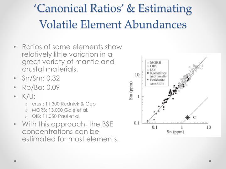 'Canonical Ratios' & Estimating Volatile Element Abundances