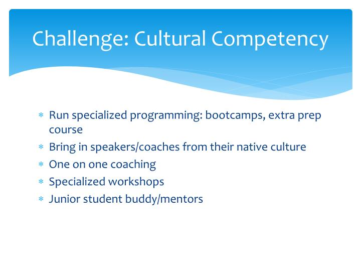 Challenge: Cultural Competency