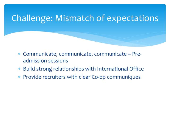 Challenge: Mismatch of expectations
