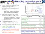 damping ring design goals