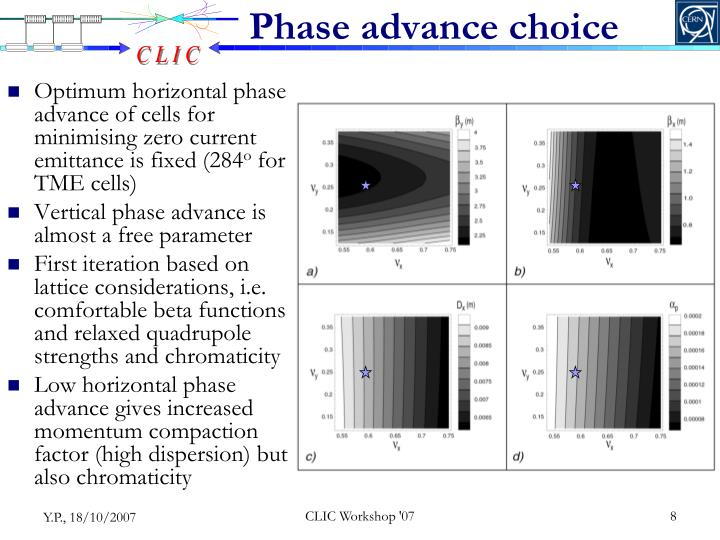 Phase advance choice