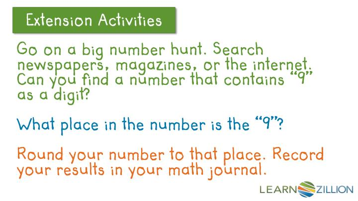 """Go on a big number hunt. Search newspapers, magazines, or the internet. Can you find a number that contains """"9"""" as a digit?"""