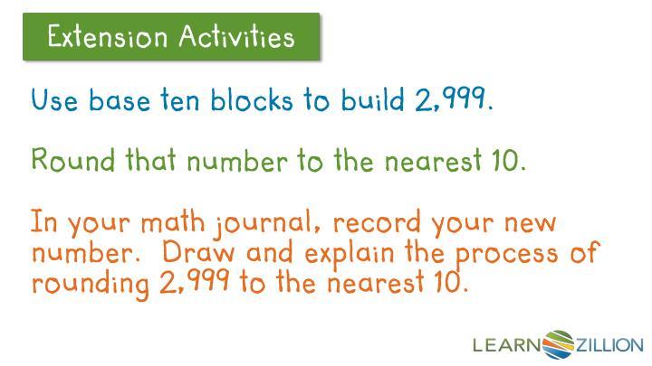 Use base ten blocks to build 2,999.