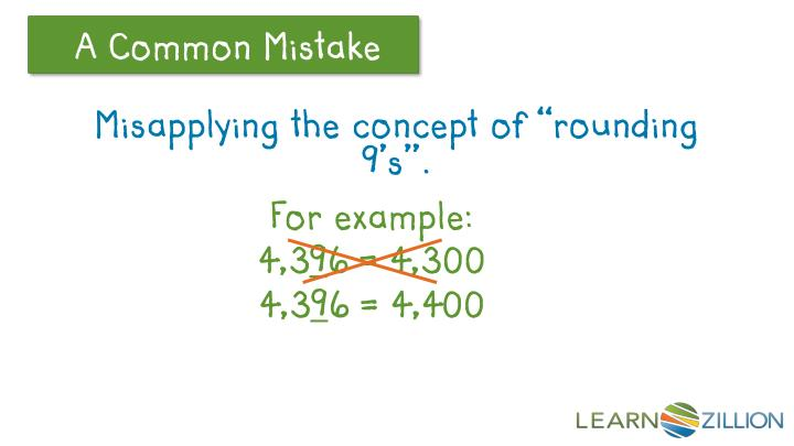 """Misapplying the concept of """"rounding 9's""""."""