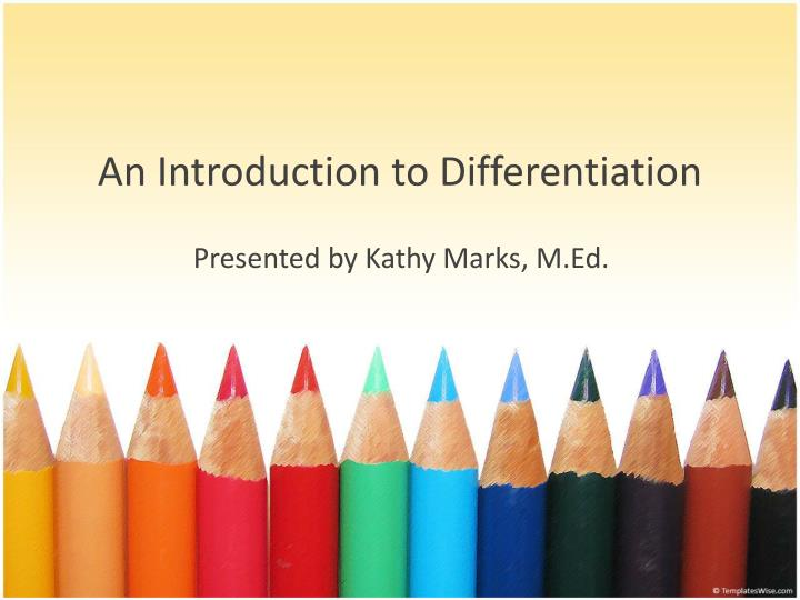 an introduction to differentiation
