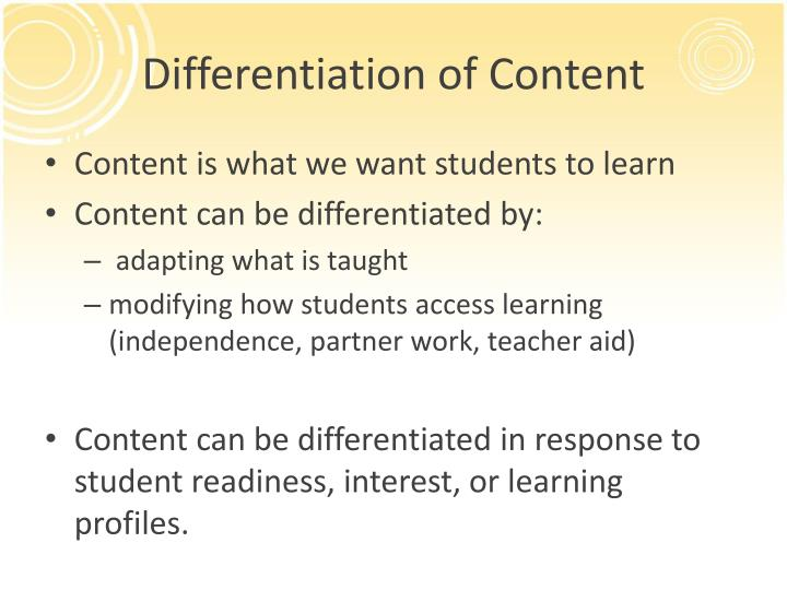 Differentiation of Content