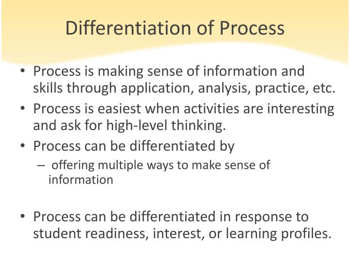 Differentiation of Process