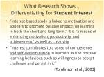 what research shows differentiating for student interest