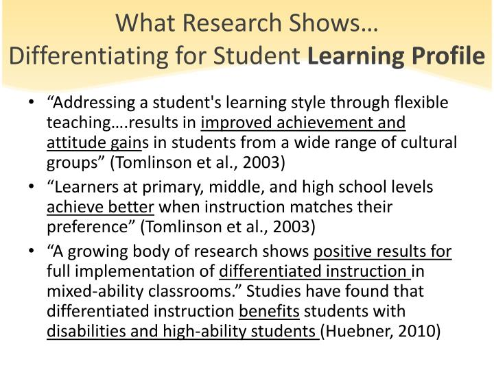 What Research Shows…