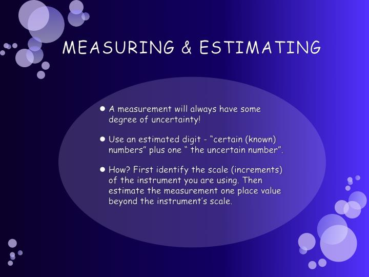 MEASURING & ESTIMATING