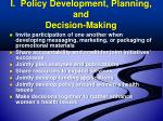 i policy development planning and decision making