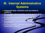 iii internal administrative systems
