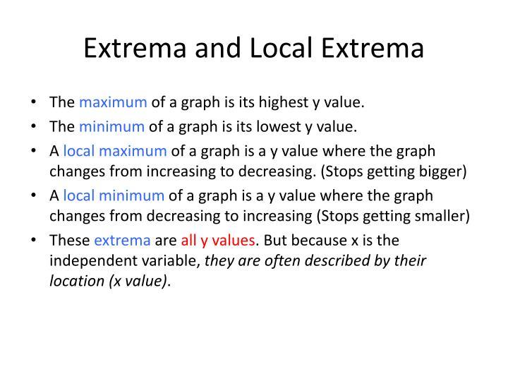 Extrema and Local Extrema