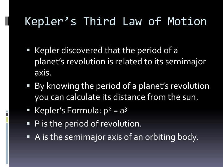 Kepler's Third Law of Motion
