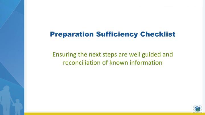 Preparation Sufficiency Checklist