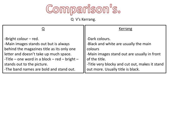 Comparison's.