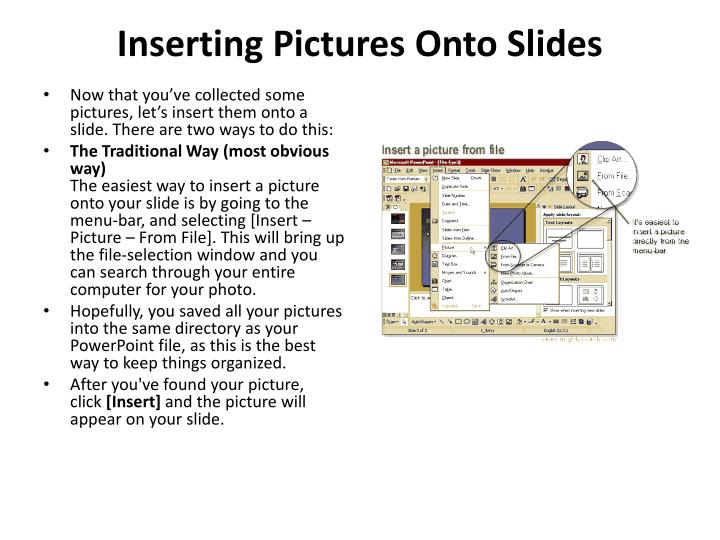 Inserting pictures onto slides1