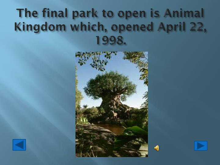 The final park to open is Animal Kingdom which, opened April 22, 1998.
