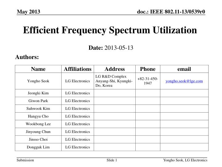 Efficient frequency spectrum utilization