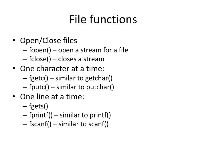 File functions