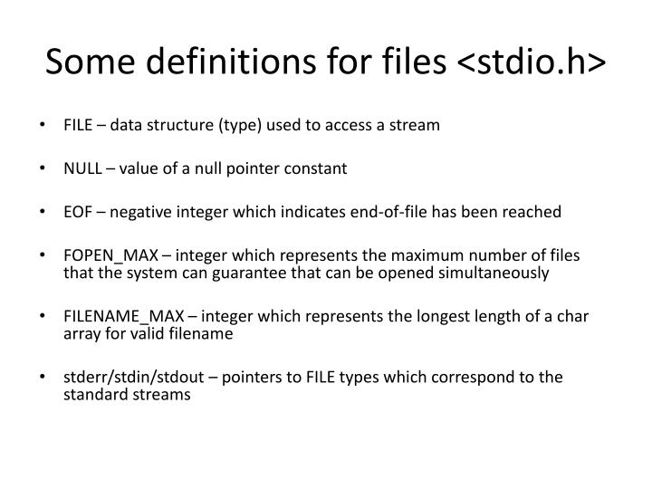 Some definitions for files <