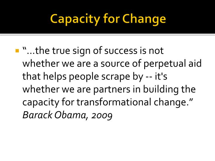 Capacity for Change