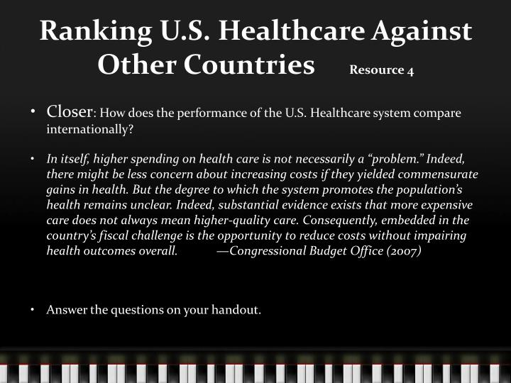 Ranking U.S. Healthcare Against Other Countries