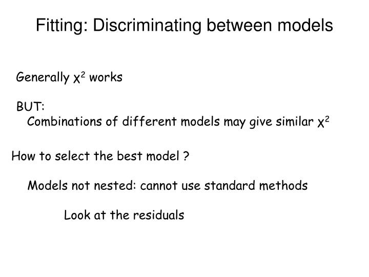 Fitting: Discriminating between models