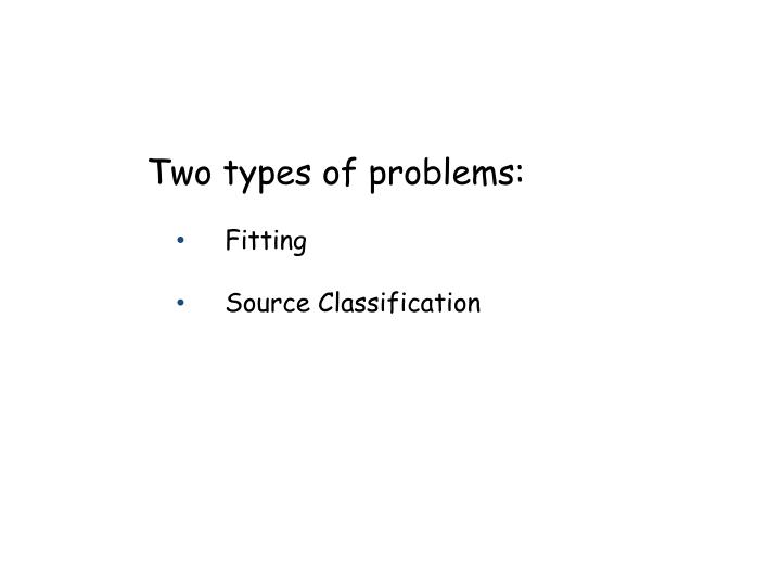 Two types of problems: