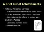 a brief list of achievements