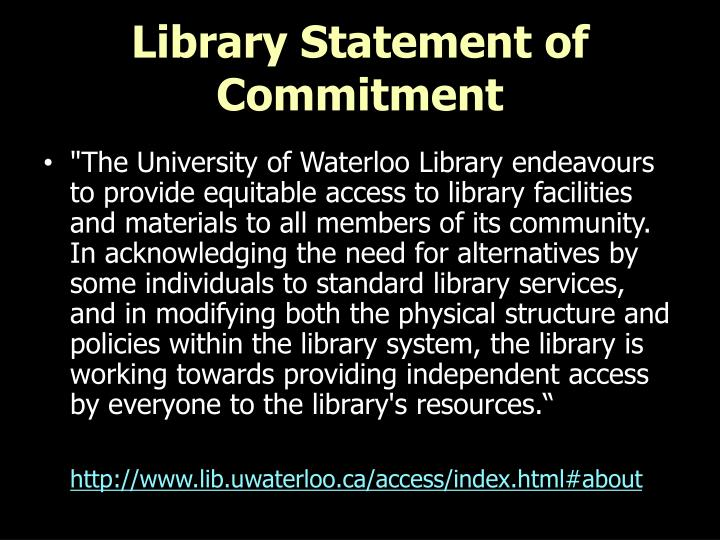 Library statement of commitment