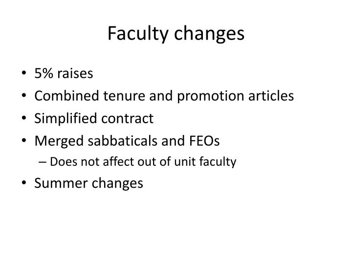 Faculty changes