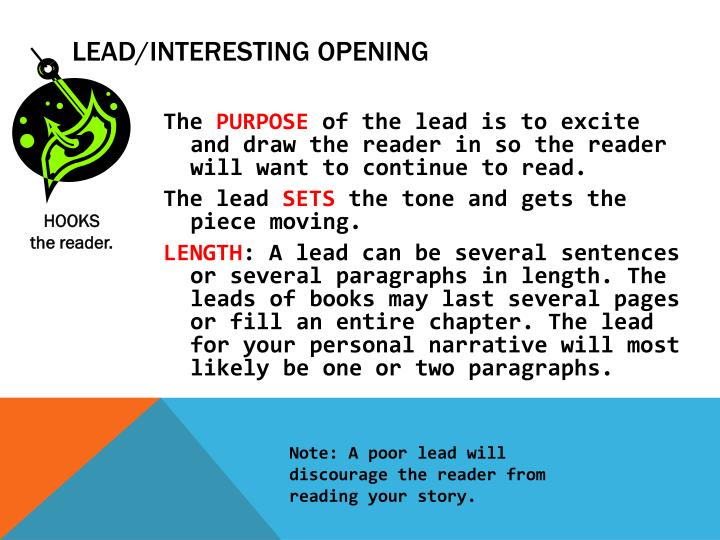 Lead interesting opening