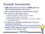 example assessments