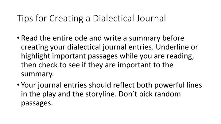Tips for Creating a Dialectical Journal
