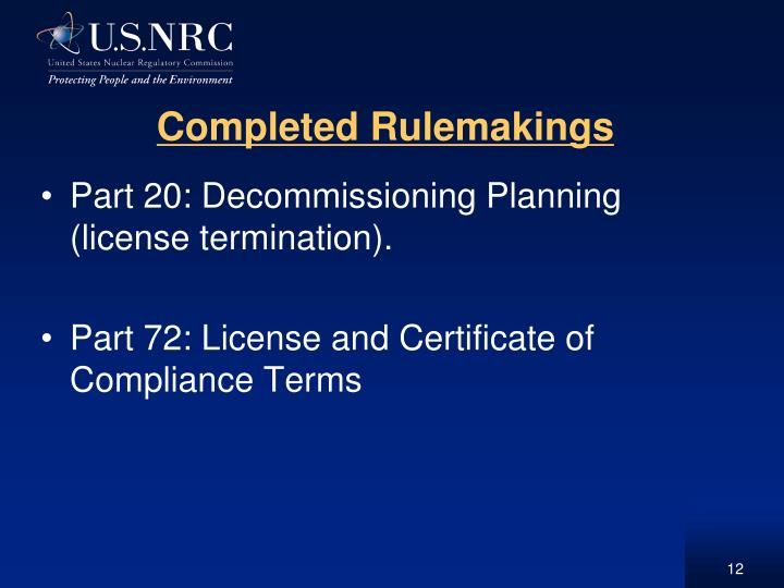Completed Rulemakings