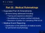 part 35 medical rulemakings