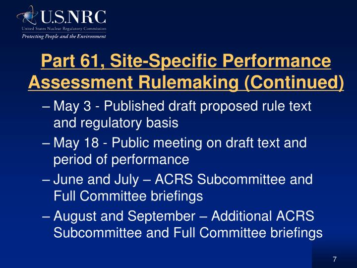 Part 61, Site-Specific Performance Assessment Rulemaking (Continued)