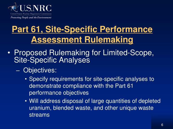 Part 61, Site-Specific Performance Assessment Rulemaking