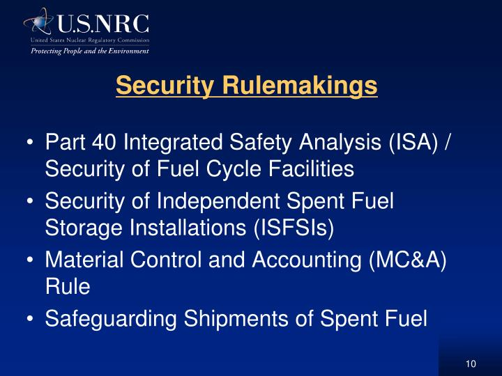 Security Rulemakings