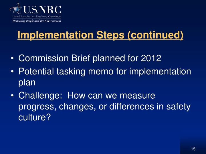 Implementation Steps (continued)