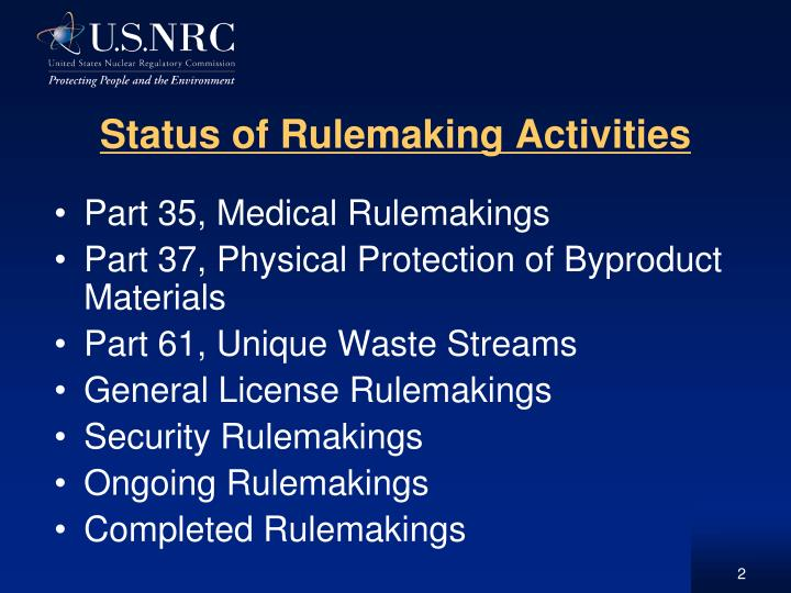 Status of Rulemaking Activities