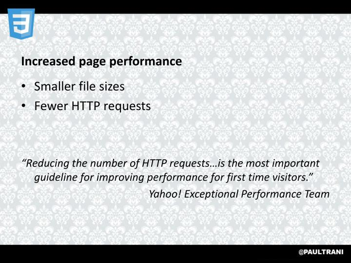 Increased page performance