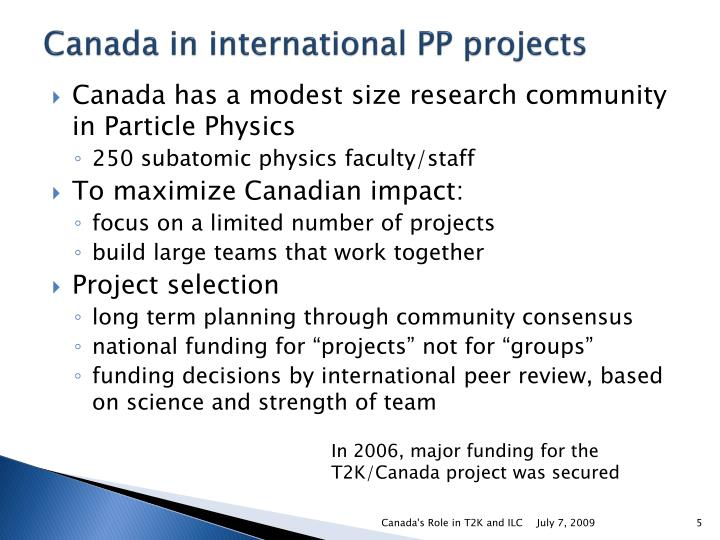 Canada in international PP projects