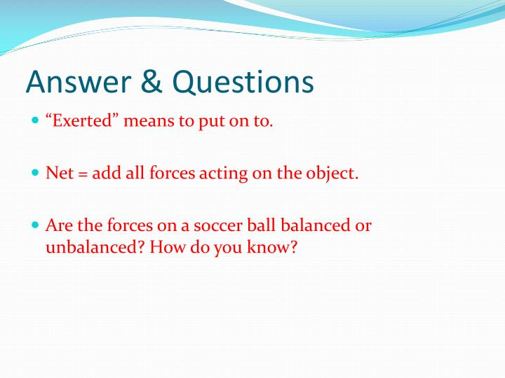 Answer & Questions