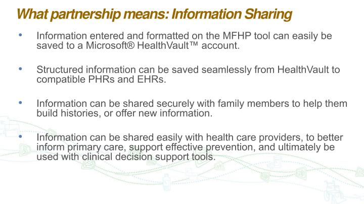 What partnership means: Information Sharing