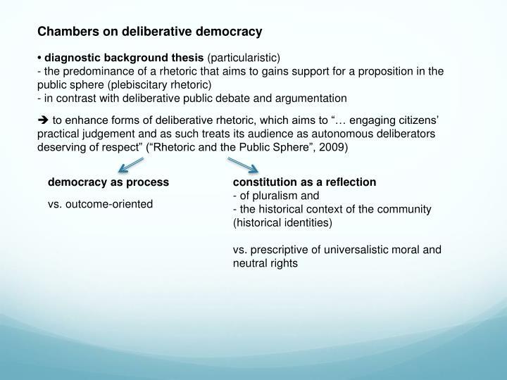 Chambers on deliberative democracy