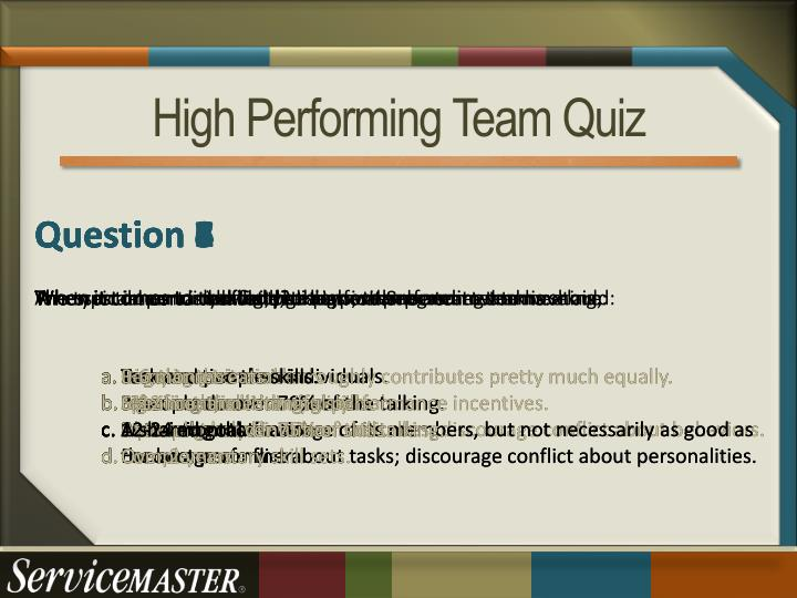 High Performing Team Quiz